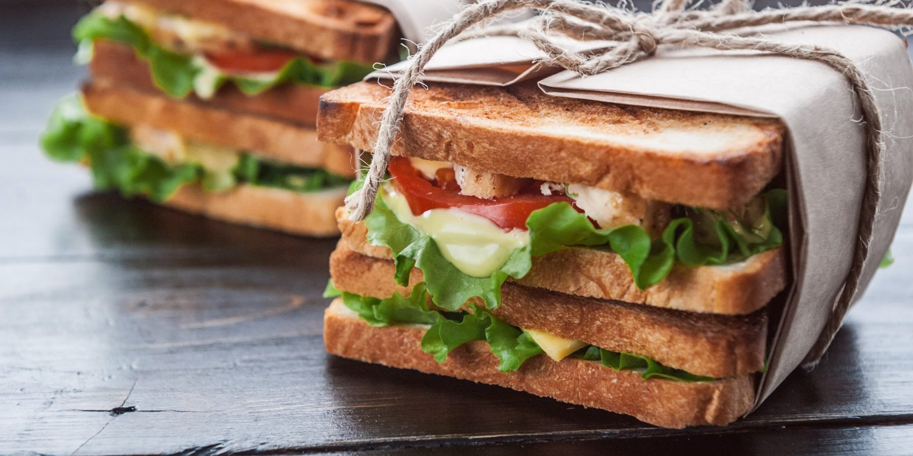 delicious homemade sandwich in rustic style